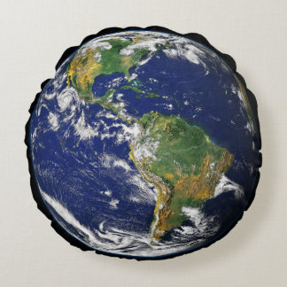 Planet Earth Round Pillow
