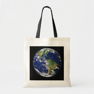 PLANET EARTH SPACE PHOTOGRAPHY BLUES GREENS BLACK TOTE BAGS