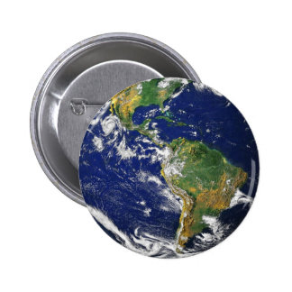 PLANET EARTH SPACE PHOTOGRAPHY BLUES GREENS BLACK BUTTON