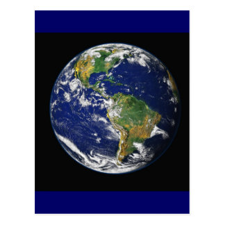 PLANET EARTH SPACE PHOTOGRAPHY BLUES GREENS BLACK POSTCARD