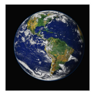 PLANET EARTH SPACE PHOTOGRAPHY BLUES GREENS BLACK POSTER
