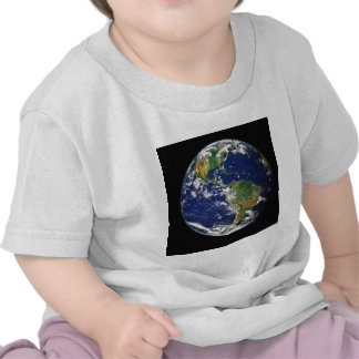 PLANET EARTH SPACE PHOTOGRAPHY BLUES GREENS BLACK T-SHIRT