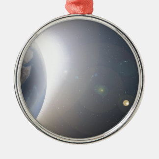 planet earth space shot metal ornament
