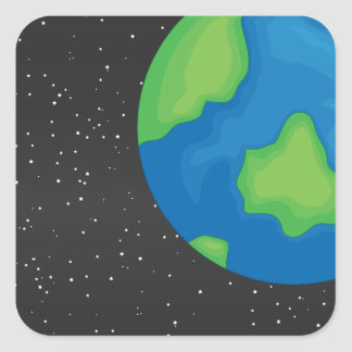 Planet earth square sticker