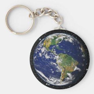 PLANET EARTH star background (solar system) ~ Basic Round Button Keychain