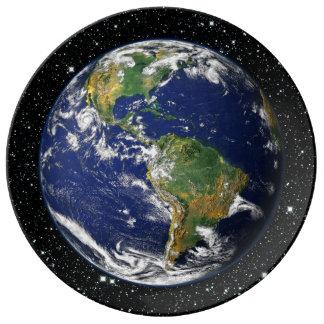 PLANET EARTH star background (solar system) ~ Porcelain Plate