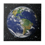 PLANET EARTH star background (solar system) ~ Small Square Tile