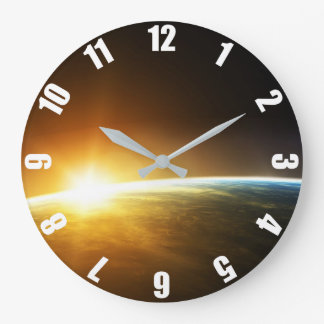 Planet Earth Sunset Large Clock