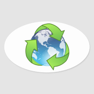 Planet Earth Surrounded by Green Recycling Symbol Oval Sticker