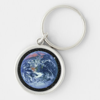 PLANET EARTH v2 (solar system) ~ Silver-Colored Round Keychain