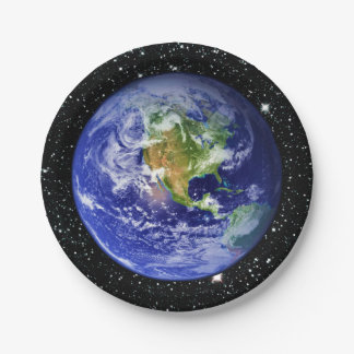PLANET EARTH v3 star background (solar system) ~ 7 Inch Paper Plate