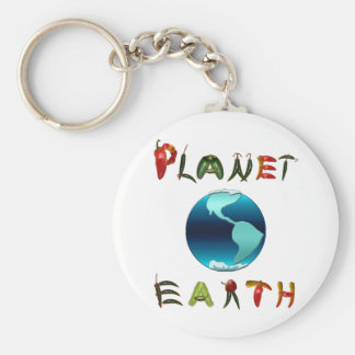 Planet Earth with Chili Peppers Keychain