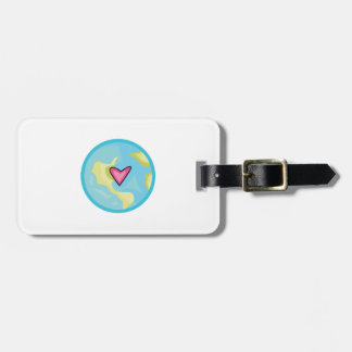 PLANET EARTH WITH HEART BAG TAGS