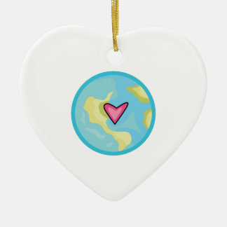 PLANET EARTH WITH HEART ORNAMENTS