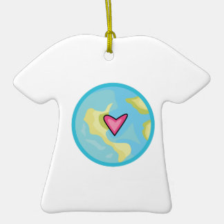 PLANET EARTH WITH HEART CHRISTMAS TREE ORNAMENT