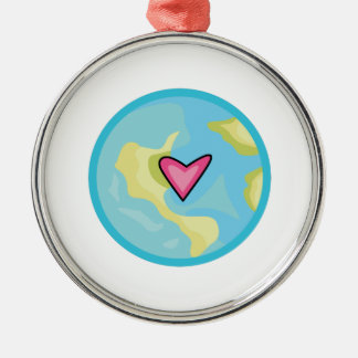 PLANET EARTH WITH HEART CHRISTMAS TREE ORNAMENTS