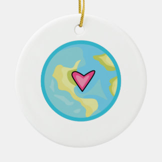 PLANET EARTH WITH HEART CHRISTMAS ORNAMENT