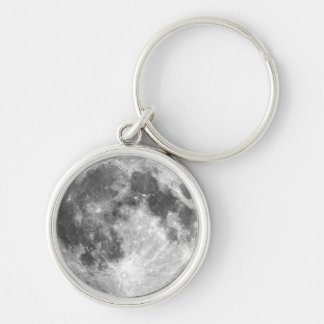 PLANET EARTH'S MOON (solar system) ~ Silver-Colored Round Keychain
