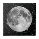 PLANET EARTH'S MOON star background (solar system) Small Square Tile