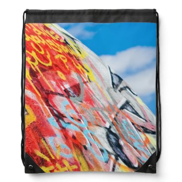 Art Themed planet graffiti drawstring backpack