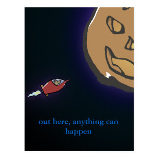 planet halloween - write your own words - postcard
