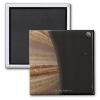 Planet Jupiter and a Distant Moon Refrigerator Magnets