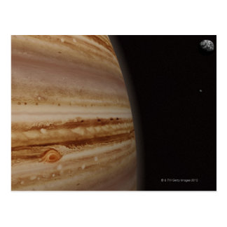 Planet Jupiter and a Distant Moon Postcard
