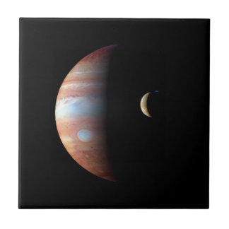 PLANET JUPITER AND ITS VOLCANIC MOON IO (space) ~ Ceramic Tile