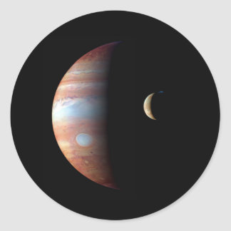 PLANET JUPITER AND ITS VOLCANIC MOON IO (space) ~ Classic Round Sticker