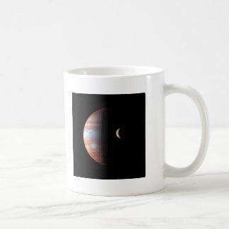 PLANET JUPITER AND ITS VOLCANIC MOON IO (space) ~ Classic White Coffee Mug