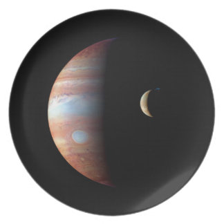 PLANET JUPITER AND ITS VOLCANIC MOON IO (space) ~ Dinner Plate