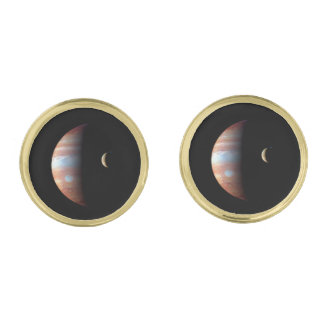 PLANET JUPITER AND ITS VOLCANIC MOON IO (space) ~ Gold Cufflinks