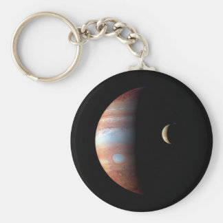 PLANET JUPITER AND ITS VOLCANIC MOON IO (space) ~ Basic Round Button Keychain