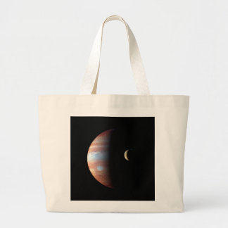PLANET JUPITER AND ITS VOLCANIC MOON IO (space) ~ Large Tote Bag