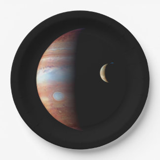 PLANET JUPITER AND ITS VOLCANIC MOON IO (space) ~ Paper Plate