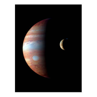 PLANET JUPITER AND ITS VOLCANIC MOON IO (space) ~ Postcard