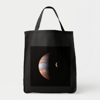 PLANET JUPITER AND ITS VOLCANIC MOON IO (space) ~ Tote Bag