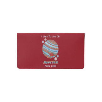 Planet Jupiter And Moons Colorful Space Geek Checkbook Cover