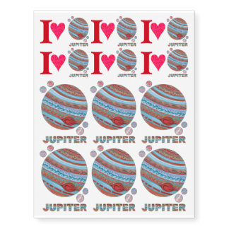 Planet Jupiter And Moons Colorful Space Geek Temporary Tattoos