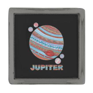 Planet Jupiter And Moons Colorful Space Geek Gunmetal Finish Lapel Pin