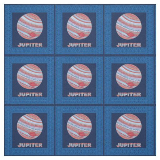 Planet jupiter colorful space geek space theme fabric zazzle for Space themed material