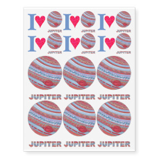 Planet Jupiter Colorful Space Geek Space Theme Temporary Tattoos