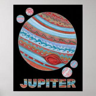 "Planet Jupiter & Moons 20"" x 16"" Poster Art Print"