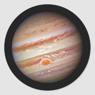 PLANET JUPITER ` red spot head on (solar system) ~ Classic Round Sticker