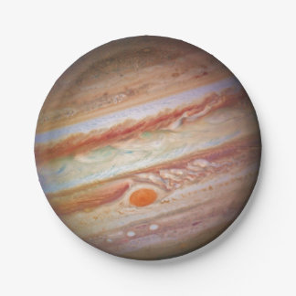 PLANET JUPITER - red spot head on (solar system) ~ Paper Plate