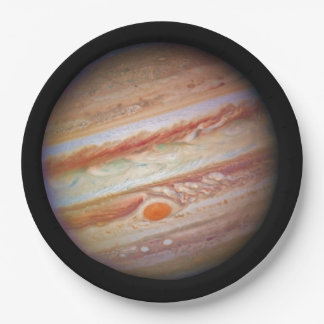 PLANET JUPITER ` red spot head on (solar system) ~ Paper Plate