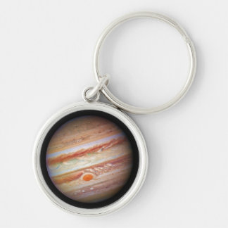 PLANET JUPITER ` red spot head on (solar system) ~ Silver-Colored Round Keychain