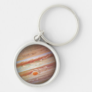 PLANET JUPITER - red spot head on (solar system) ~ Silver-Colored Round Keychain
