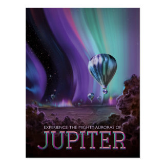 Planet Jupiter Sci-Fi Space Travel Illustration Postcard