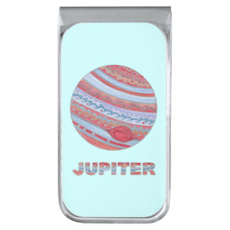 Planet Jupiter Solar System Colorful Space Geek Silver Finish Money Clip